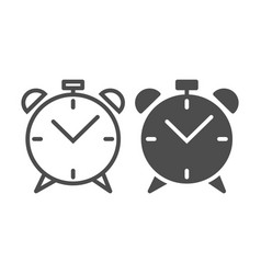 Alarm clock line and glyph icon wake up time vector