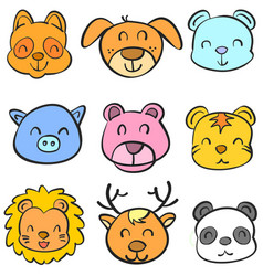 Animal head colorful head doodles vector