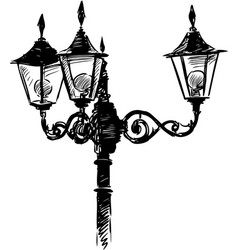 antique street lamp vector image