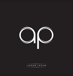 Ap initial letter split lowercase logo modern vector