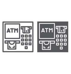 Atm line and glyph icon finance and cash banking vector
