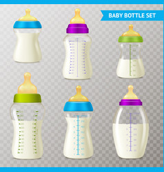 baby bottles transparent set vector image