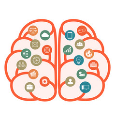 brain with business icons brainstorming vector image