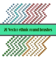 Brushes set with colour round elements vector