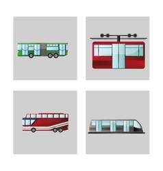 Bus bullet train and cable car design vector