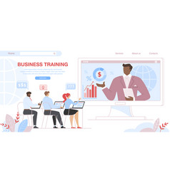 business training students sit at computer screen vector image