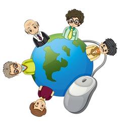 Businessmen around globe vector