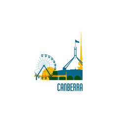 Canberra city emblem colorful buildings vector