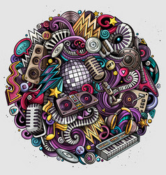 cartoon doodles disco music vector image
