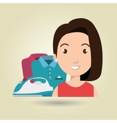 cartoon woman clothes ironing vector image