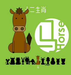 Chinese zodiac sign horse vector
