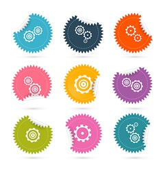 Cogs - Gears Colorful Stickers Icons Set Isolated vector
