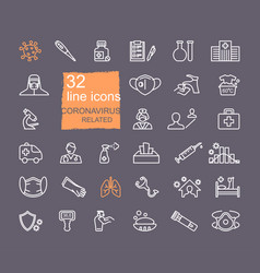 collection icons related to coronavirus vector image