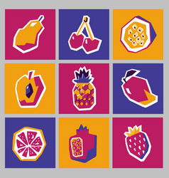 collection of bright cards with geometric fruits vector image