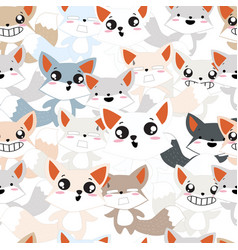 Cute baby fox pattern vector