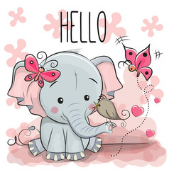 cute cartoon elephant with bird vector image