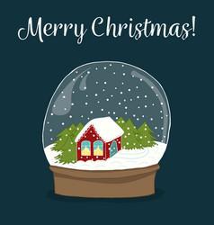 Cute hand drawn snow globe with house inside vector