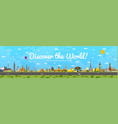 Discover world poster with famous attractions vector