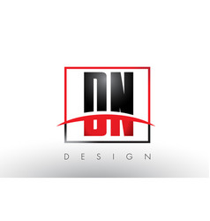 dn d n logo letters with red and black colors and vector image