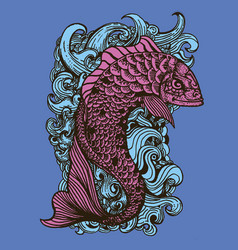 drawing of fish in tattoo style vector image