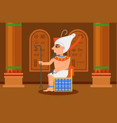 Egyptian pharaoh sitting in throne room vector