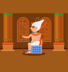 Egyptian pharaoh sitting in throne room with vector