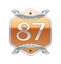 Eighty seven years anniversary celebration silver vector image