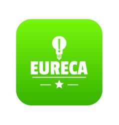Eureka bulb icon green vector