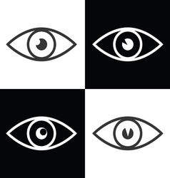 eye icon on black and white vector image