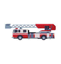 fire truck with ladder emergency service vector image