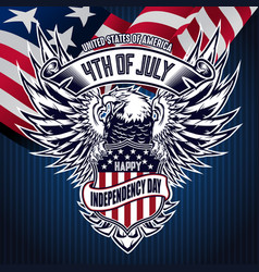 Flat background with eagle blue for usa happy vector