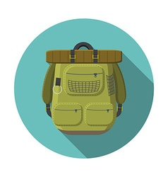 Flat design modern of tourist backpack icon vector image