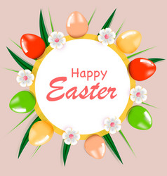 floral template with eggs for easter vector image