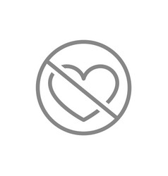 forbidden sign with a heart line icon prohibition vector image