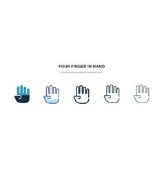 Four finger in hand icon in different style two vector