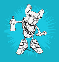 French bulldog rap star with hip hop essentials vector