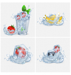 frozen fruits and water splash set vector image