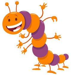 Funny caterpillar insect comic animal character vector