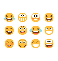 Funny laughing faces vector