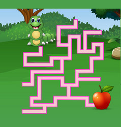 Game caterpillar maze find their way to the apple vector