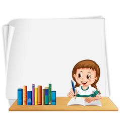 Girl school blank frame vector