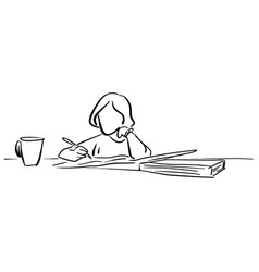 girl writing on big notebook with a cup of tea vector image