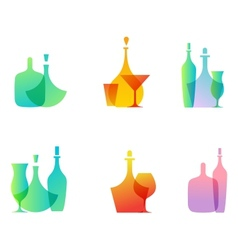 Glass bottle icons vector image