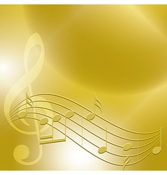 Golden music background with notes vector
