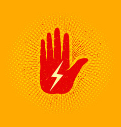 hand with lightning vector image