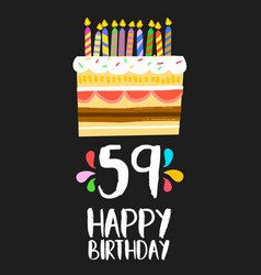 happy birthday card 59 fifty nine year cake vector image