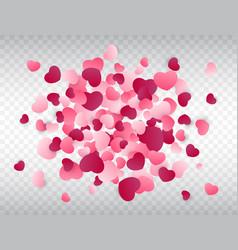 heart confetti splash love background pink vector image