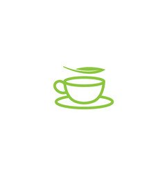 hot cup of tea in a mug with mint leaves for logo vector image