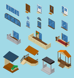 House isometric constructor set vector