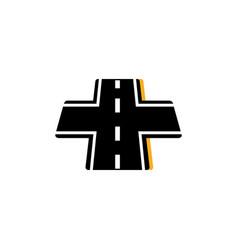 Intersection asphalt road flat image vector